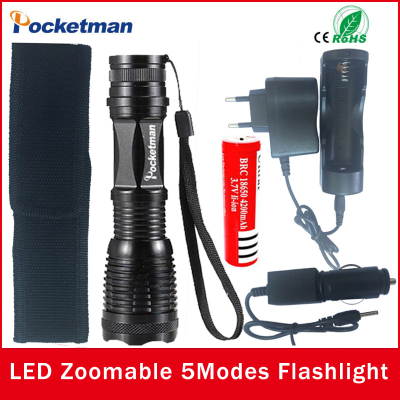 zk50 LED flashlight Focus lamp LED torch E17 CREE XM-L T6 4000 Lumens Zoomable lights AC/Car Charger 18650 Rechargeable Battery(China (Mainland))