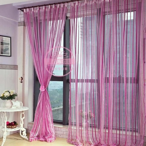 Free Shipping sheer curtains Stripe Chenille Yarn curtain Powder Screens Customize Finished curtain(China (Mainland))