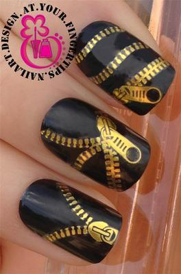 Nail art decoration 20 pieces/lot The latest version Fashion and personality Watermark nail stickers  zipper design golden y-081