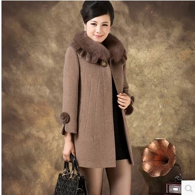 Plus size XL-5XL 2014 new large size womens middle-aged mom Girls long wool coat cashmere coat long coat fitted models XXXXXLОдежда и ак�е��уары<br><br><br>Aliexpress