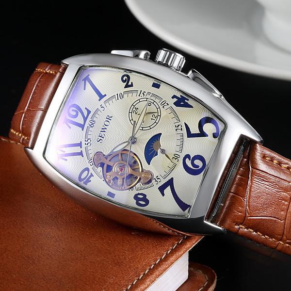 2015 New Sewor Brand Clock Classic Leather Skeleton Men Mechanical Watch Fashion Automatic Mechanical Wristwatch Free Ship(China (Mainland))