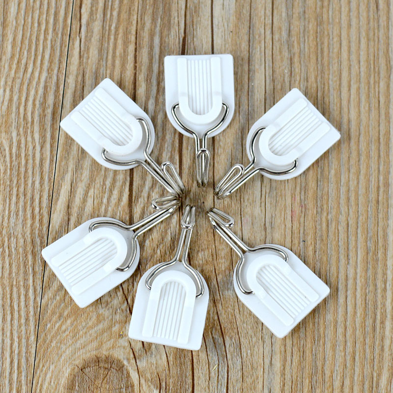 6Pcs White Plastic Hook Family Wall Hanger Hats Bag Key Adhesive MAX 1.5Kg(China (Mainland))