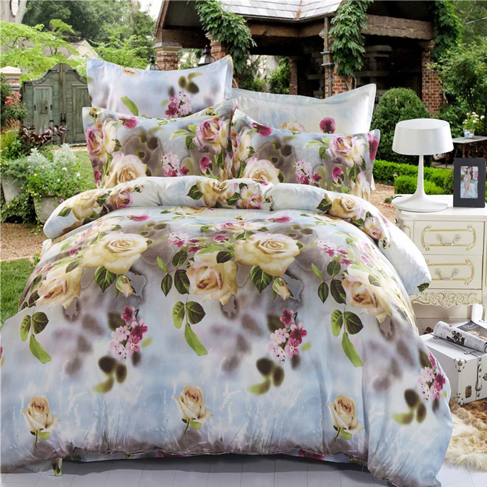 Mingjie White and Yellow Flowers 3D Bedding Sets 4PCS Queen Size Bed Linen China Bedding Set Coverlet(China (Mainland))