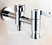 Concise Double Soild Brass Long Wall Mounted Washing Machine Faucet (China (Mainland))