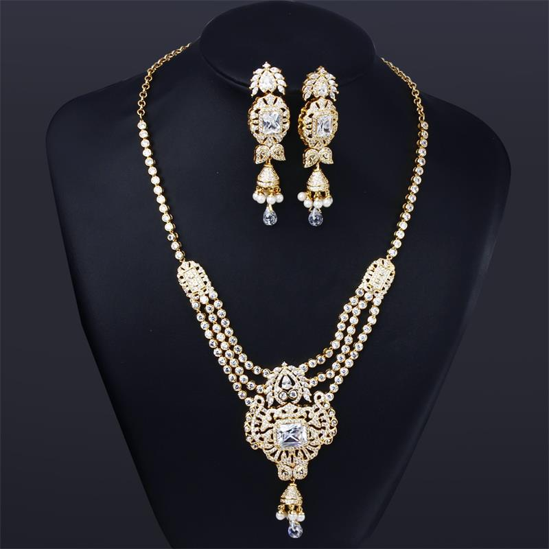 Luxury Real gold Plated Fashion Jewelry Sets for Women Cubic Zircon Setting Wedding Pearl Jewelry for Necklace Earrings Set