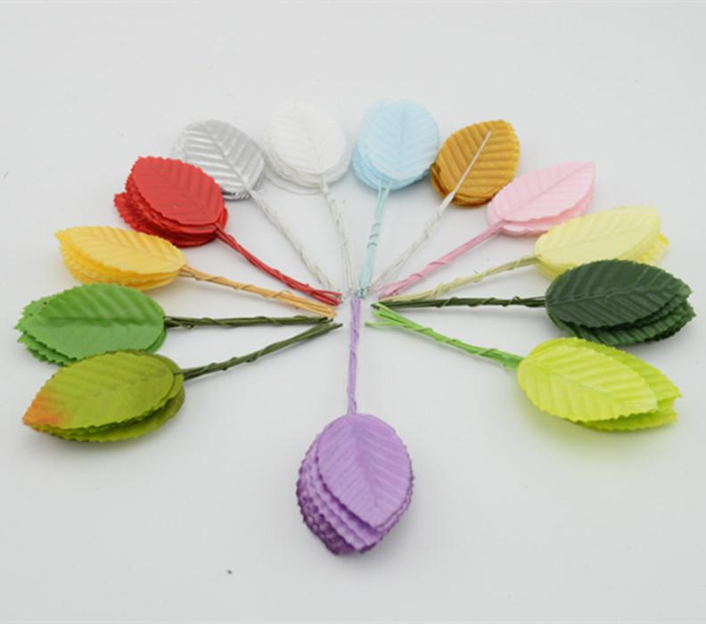 10pcs/bunch(5 bunch) 4.8*2.8cm Artificial flowers simulation rose leaf gold leaf mosaic leaves floral decoration leaf leaves(China (Mainland))