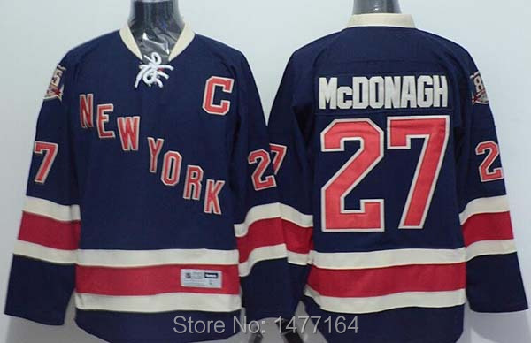 #27 Ryan Mcdonagh New York Rangers Jerseys Navy Blue Alternate 85th Anniversary NY Rangers Ice Hockey Jersey Shirt Mcdonagh