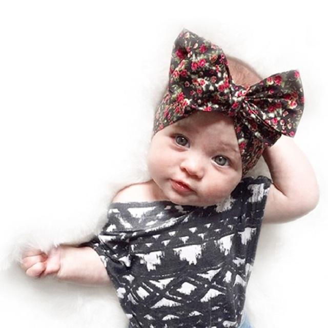 1 шт. 2016 новорожденных девочек Hairband богемия печать цветочным лук-узел-двуспальными ...