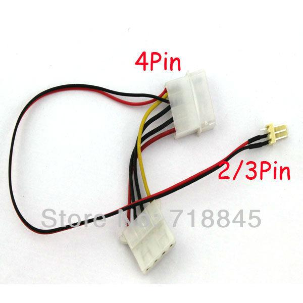 100pcs Lot Computer 4-Pin Male Female to 2/3-pin Male PC CPU VGA Fan Power Cable(China (Mainland))