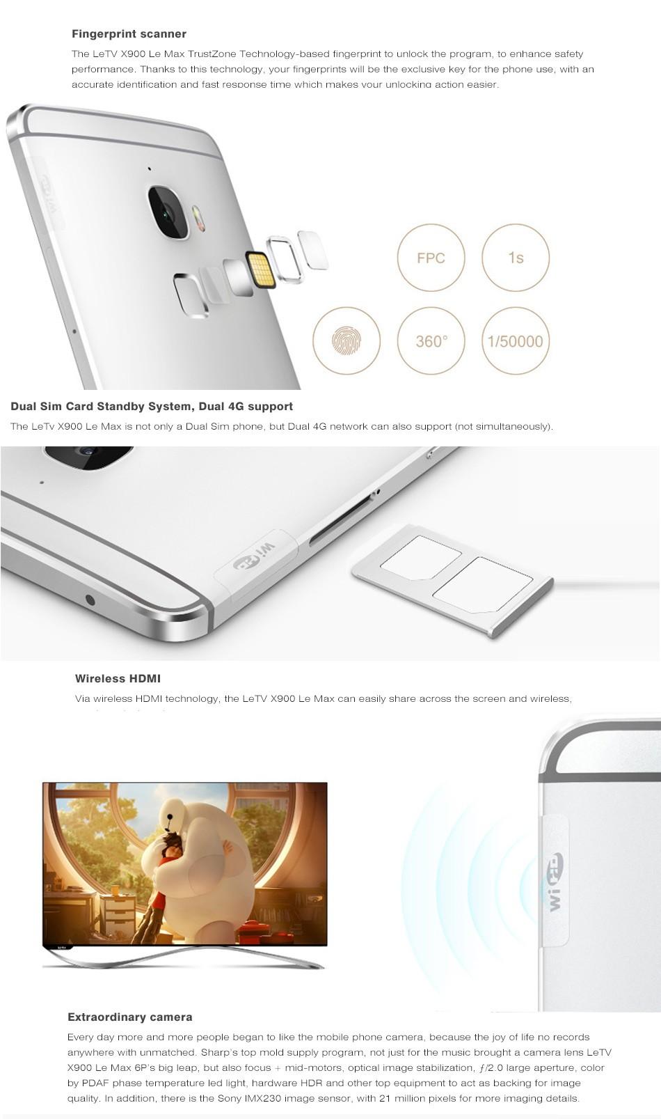 Original Letv Le Max X900 Cell Phone Snapdragon810 64Bit Octa Core 6.33″ 2560x1440px 4GB RAM 32/64GB ROM 21MP 3400mAh Smartphone