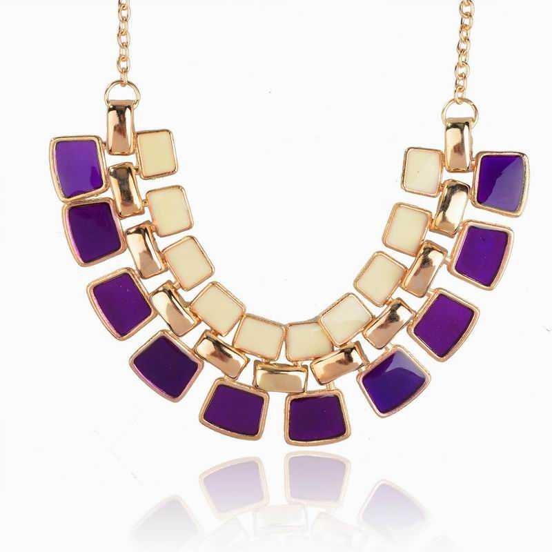 2015 Fashion Jewelry Collar Mujer Collier Femme Enamel Statement Necklace Pendant Vintage Chain Necklace For Women