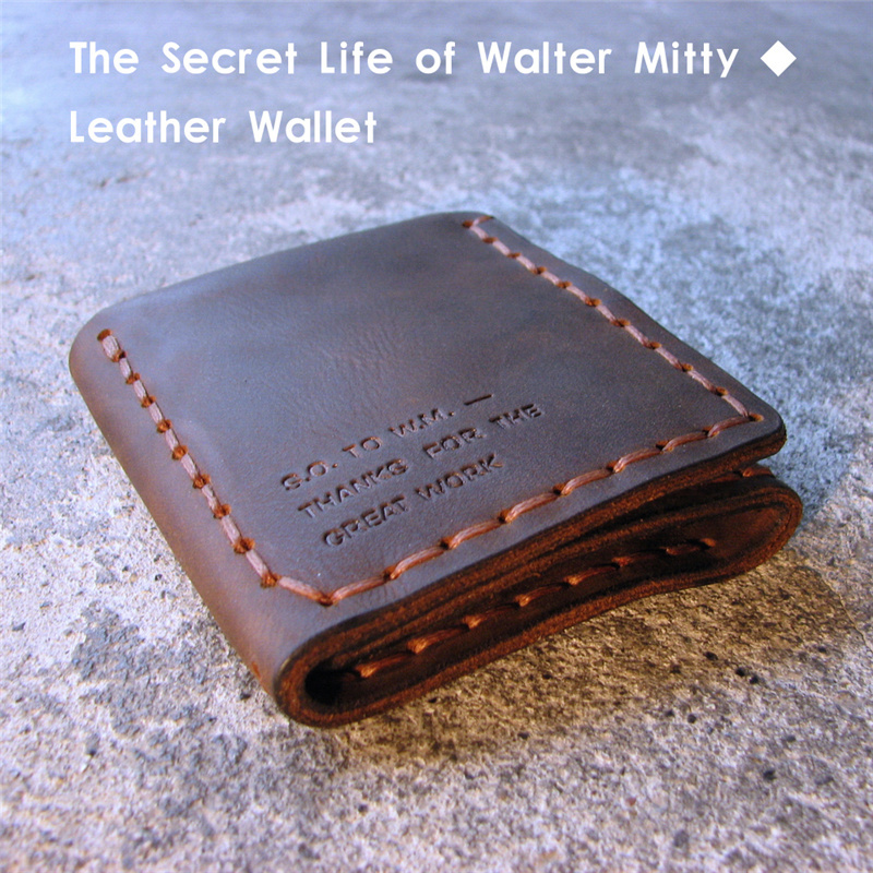 The Secret Life Of Walter Mitty Genuine Leather Wallet Men Vintage Handmade Crazy Horse Leather Wallet Wallets Purse For Man(China (Mainland))