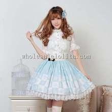 Buy Alice Light Blue Chessboard Print SK Sweet Lolita Skirt for $40.80 in AliExpress store