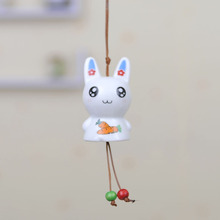Bunnies Pottery Wind Chimes Luxury Car Decoration Ornaments Festival Birthday Lovers Gifts CR