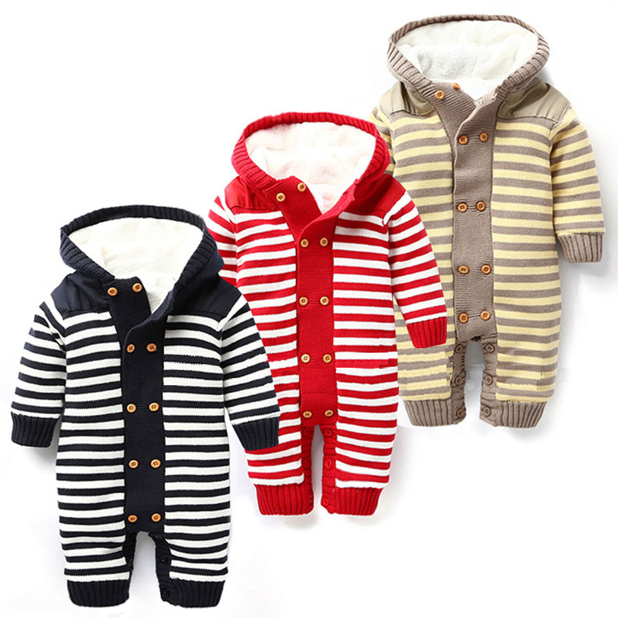 baby clothing Winter Baby Rompers Knitting stripes baby Hoodies Jumpsuit baby boys girls romper newborn toddle clothing(China (Mainland))