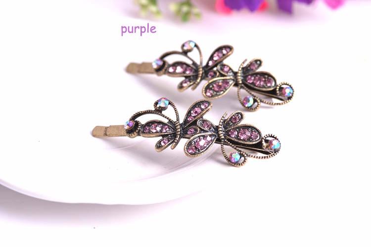 1 Pair High Quality Rhinestone Butterfly Hair Clip Clamp Hairpin For Women Hair Accessories