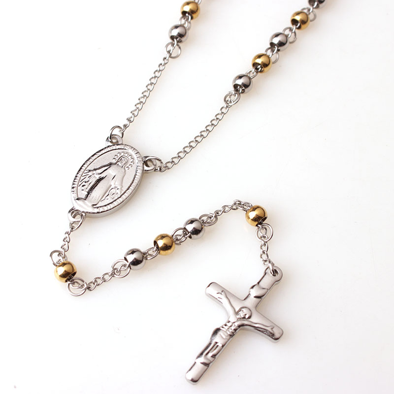 RDW Jewelry Men Women's Stainless Steel Pendant Necklace Gold Steel Jesus Christ Crucifix Cross Rosary Vintage Long Necklace
