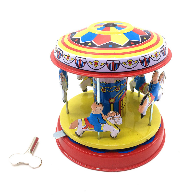 1PC Colorful Retro Carrousel Merry-go-round Tinwork Toys Collection Classic Tin Wind Up Toys for Children Vintage Handmade Craft(China (Mainland))