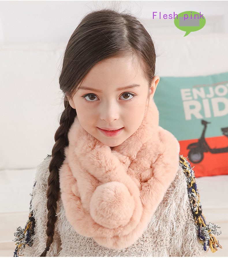 2016 Fashion Children Genuine Rabbit Fur Scarves Fluffy Real Fur Scarf Autumn Winter Warm Thick Solid Scarves hat Free Shipping