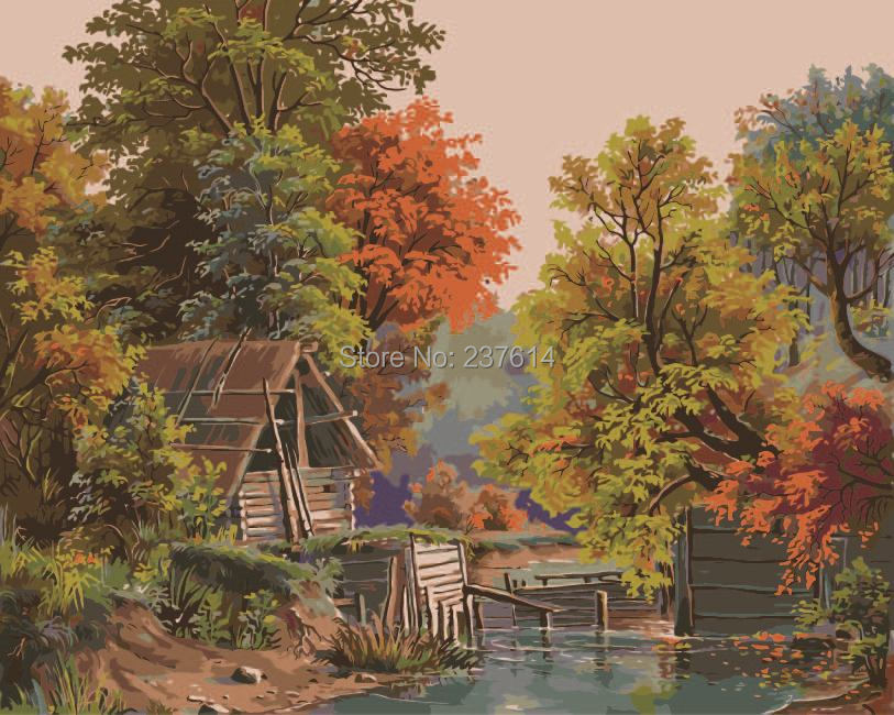 DIY Digital Paint Drawing Kit Oil Painting Number 40*50cm Canvas Home Decor Wall Poster Gift Autumn senery - bellehouse store