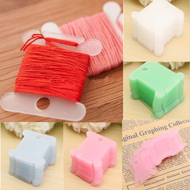 Hot Selling 20 pcs Plastic Thread Bobbins for Embroidery Floss Craft Storage Holder board Card Color D0900