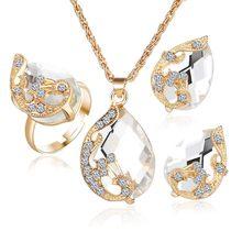Kristall Pfau Schmuck Sets Braut Hochzeit Halskette Ohrring Set Strass Gold Farbe Wassertropfen Anhänger Frauen Zubehör(China)