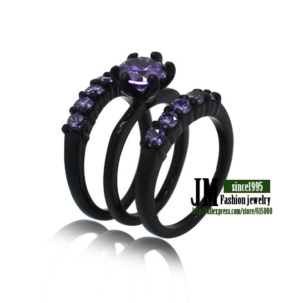 Trendy USA market women black plated purple czech crystal zircon ring set ,mixed color & size for order ,free shiping(China (Mainland))
