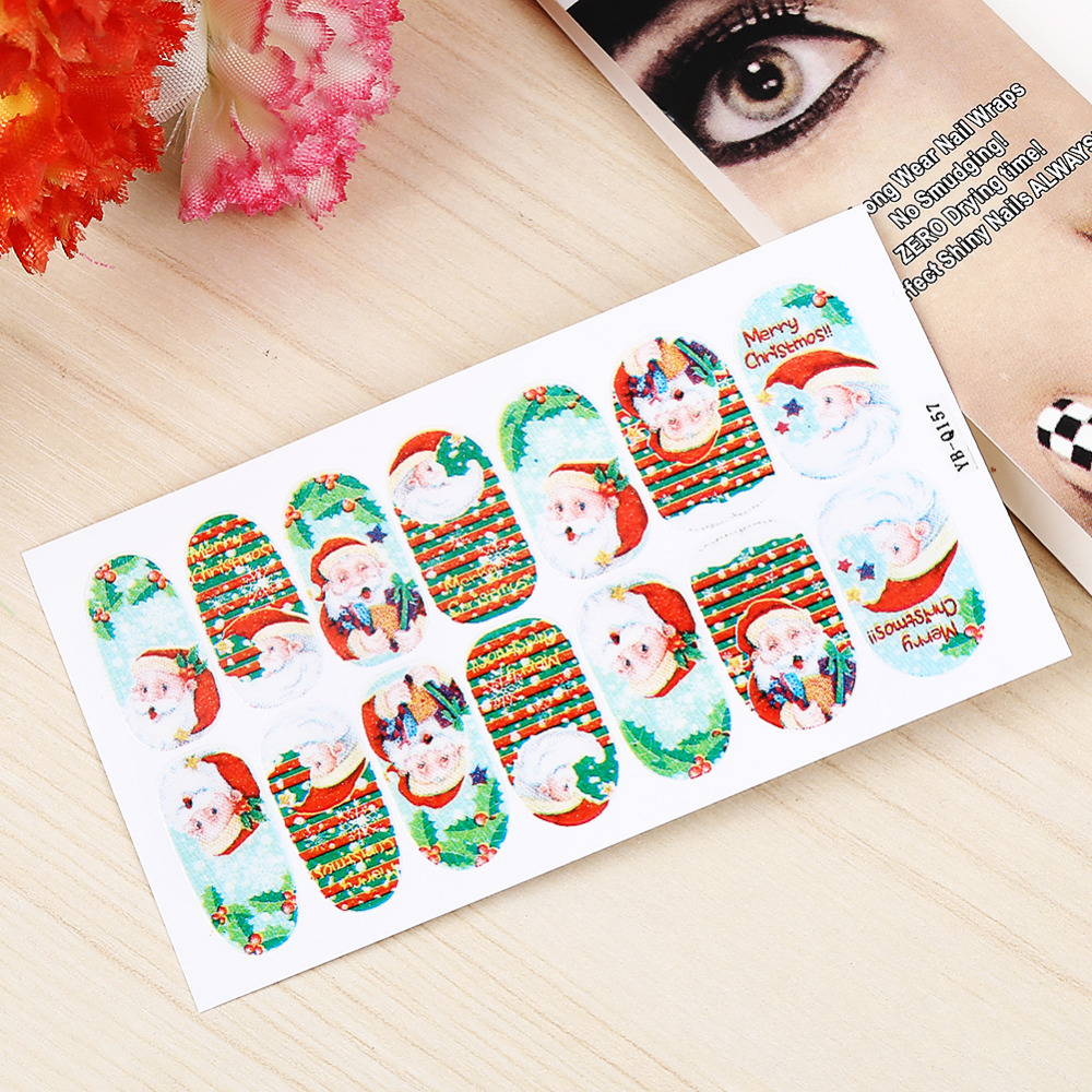 Fashionable Merry Xmas Christmas Nail Art Sticker Stickers Water Transfer Tips Nail Decal Decals Manicure(China (Mainland))