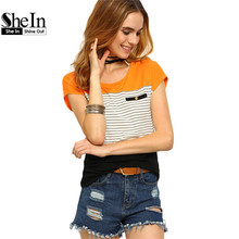 Buy SHEIN Womens Round Neck Short Sleeve Casual Tees Multicolor Women Tops Summer Ladies Striped Color Block T-shirt for $9.97 in AliExpress store