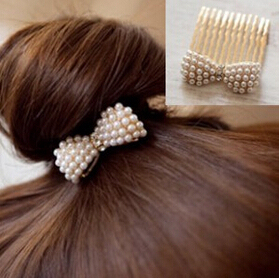 Hot! Hot New 2015 Fashion Simulation Pearl Bow Insert Comb Hair Comb Bangs Jewelry Accessories Headwear Pearl Free Shipping t17