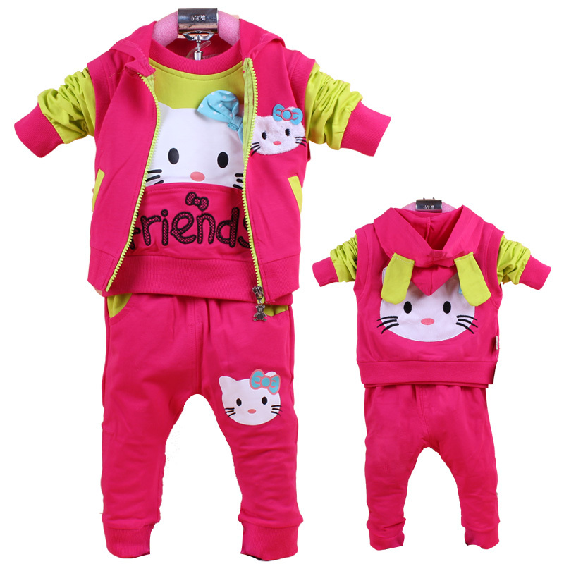 2015 fashion toddler baby girl clothing sets clothes baby girl spring winter cotton 3 pcs hello kitty character tracksuits(China (Mainland))