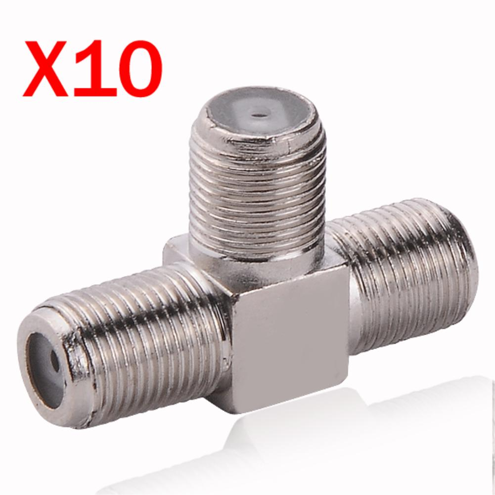 """High Quality! 10pcs/lot Cool F Adapter F Jack to Jack to Jack """"T"""" Type 3 Way Female RF Coaxial Connector(China (Mainland))"""