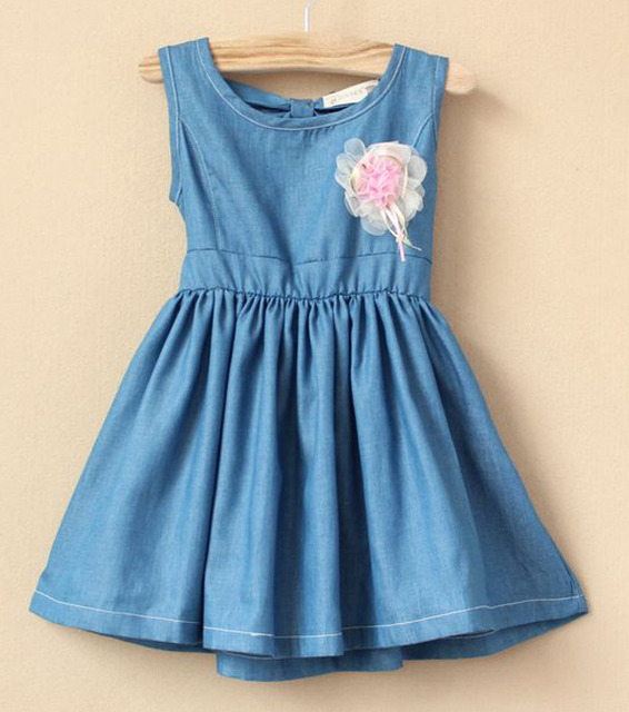 High quality 5pcs/lot european style summer soft denim sundress with solid flower and Pierced bows on the back, free shipping