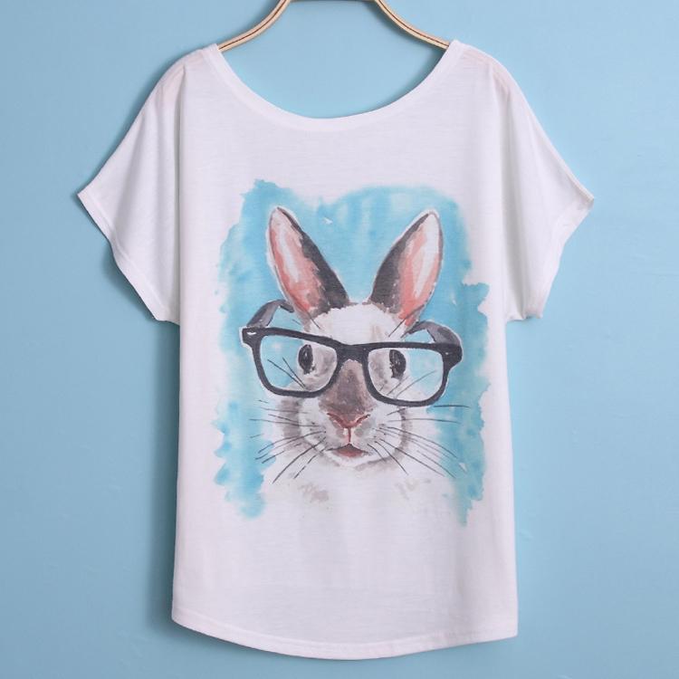 summer woman t shirts 2015 fanshion cute rabbit animal. Black Bedroom Furniture Sets. Home Design Ideas