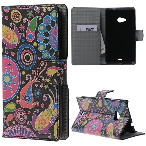 luxury Flowers PU Leather Stand Case Cover for Microsoft Lumia 535 / 535 Dual SIM 1PCS Free Shipping(China (Mainland))
