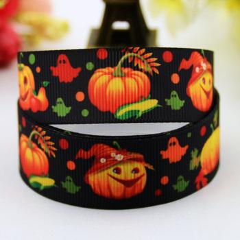7/8'' (22mm) Halloween pumpkin Cartoon Character printed Grosgrain Ribbon party decoration satin ribbons X-00472 20 Yards