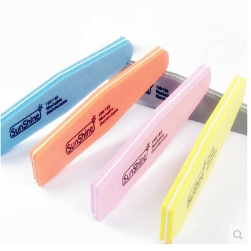 NEW Sanding Nail File Grits 100/180 Straight Edge Stick Nail Art Buffing Pedicure Manicure Sanding Polish Nail File