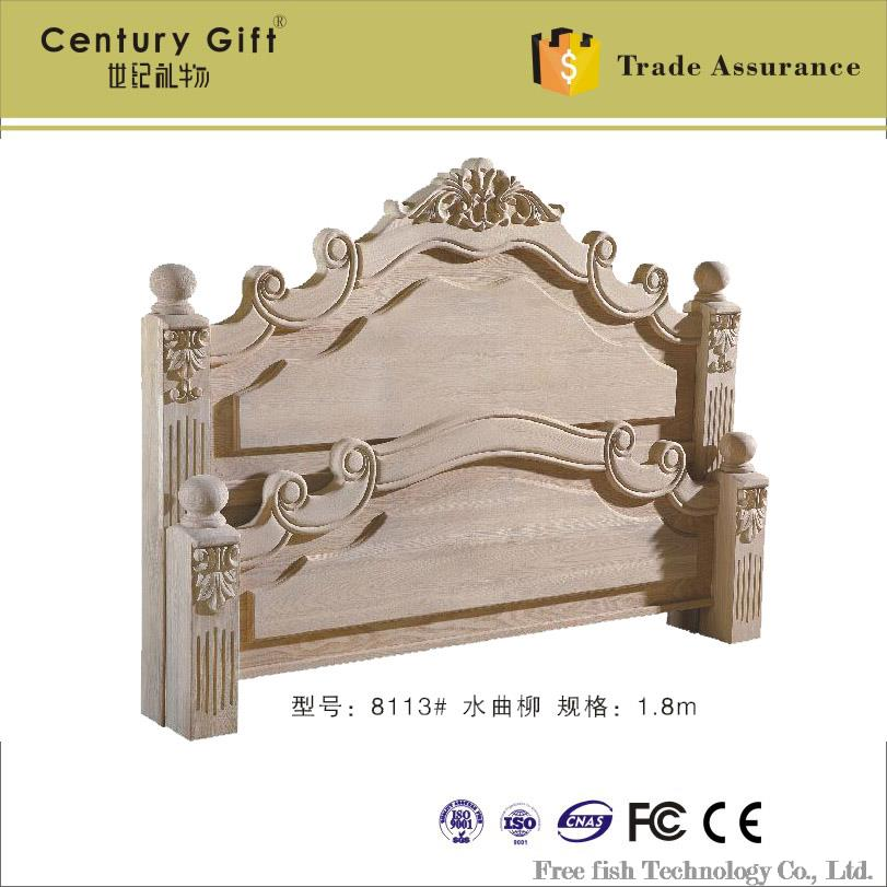 Continental carved headboard bed end Baipi bed Baipi wholesale 1.8 m wood bed luxury furniture(China (Mainland))