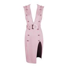 Розовое Дешевое бархатное платье с глубоким вырезом и пуговицами, с высоким разрезом, глубоким v-образным вырезом, сексуальная женская верх...(China)