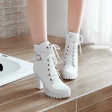 Chunky High Heels Frauen Stiefeletten Lace Up Herbst Winter Plattform Damen Stiefel Große Größe Mode Schuhe Weiß Schwarz Braun 2019(China)