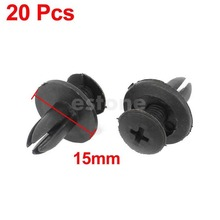 Free Shipping 20 Pcs Car Bumper Fender 6mm Hole Black Plastic Rivets Fasteners for Toyota(China (Mainland))