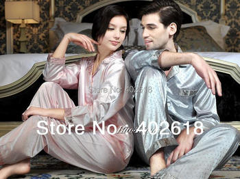 (1 Set/Lot) New Fashion, Men silk pajamas, Women sleepwear, Silk sleepwear, Size L, XL, XXL, Long-sleeve nightdress