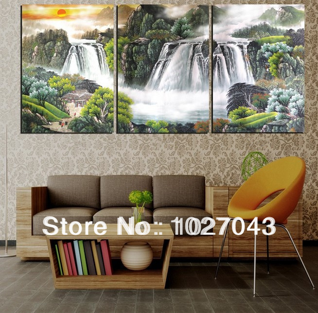 100% Handpainted Amazing High End Large Chinese Painting Canvas Paintings 3 Panel Wall Art Home Decor PictureP1068(China (Mainland))