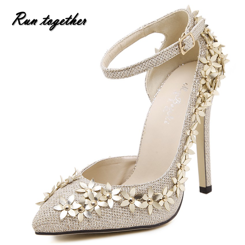 Super luxury European and American star with Jimmy paragraph handmade golden orange flowers pointed heels 11CM