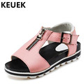 NEW Fashion Buckle Strap Genuine Leather Girls Sandals Children Shoes Summer Student Casual Sandals Kids Breathable