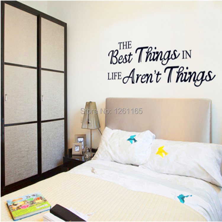 QZ900 Free Shipping 2Pcs The Best Things In Life Aren`t Things Word Motto Removable PVC Wall Stickers Fancy Home Decoration Gift(China (Mainland))