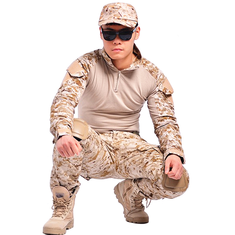 Camouflage tactical military clothing paintball army cargo pants combat trousers multicam militar tactical pants with knee pads(China (Mainland))