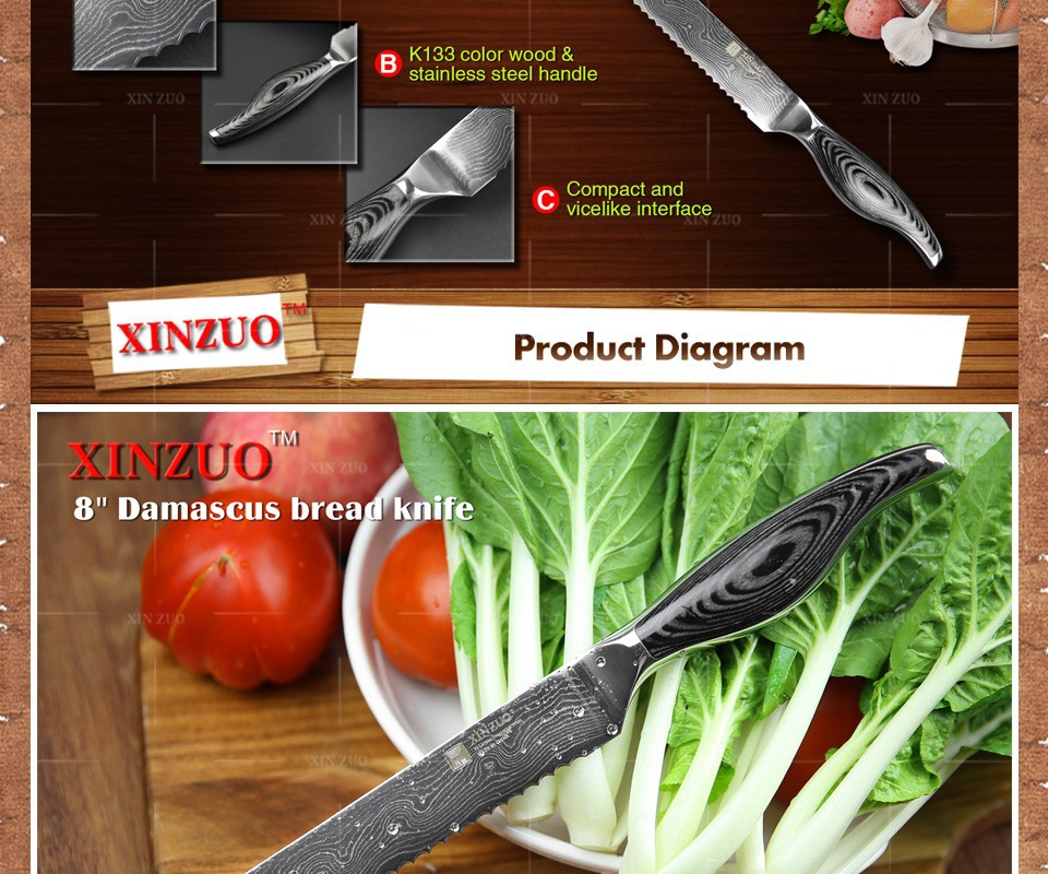 "Buy NEW 8"" Bread knife Japanese VG10 Damascus steel kitchen knives Kitchen cake knife with color wood stainless handle free shipping cheap"