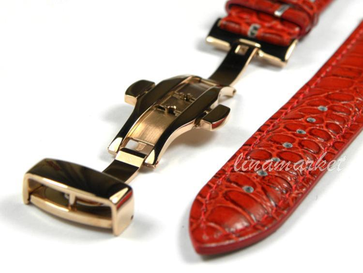 14mm (Buckle 12mm) Rose Gold Double click Butterfly Buckle Red Crocodile pattern Genuine Leather Watchbands BANDS Strap SA11R(China (Mainland))