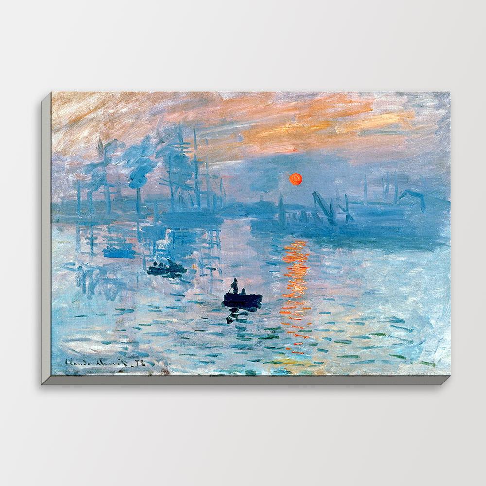 sunset mo  impressionist blue sky sea boat landscape